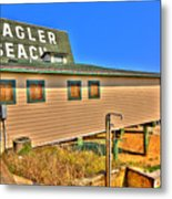 Flagler Pier Postcard Metal Print by Andrew Armstrong  -  Mad Lab Images