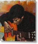 Flamenco Guitar Player Metal Print by Harvie Brown