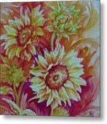 Flaming Sunflowers Metal Print by Summer Celeste
