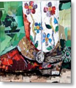 Floral Boot Metal Print by Suzy Pal Powell