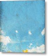 Floral In Blue Sky And Cloud Metal Print by Setsiri Silapasuwanchai