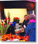 Flower Stand On Stockton And Geary Street . Photoart Metal Print by Wingsdomain Art and Photography