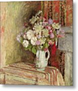 Flowers In A Vase Metal Print by Edouard Vuillard