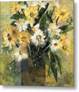 Flowers In White And Yellow Metal Print by Nira Schwartz