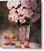 Flowers With Fruit Still Life Metal Print by Tom Mc Nemar