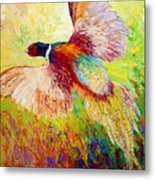 Flushed - Pheasant Metal Print by Marion Rose