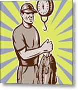 Fly Fisherman Weighing In Fish Catch  Metal Print by Aloysius Patrimonio