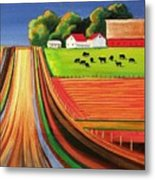 Folk Art Farm Metal Print by Toni Grote