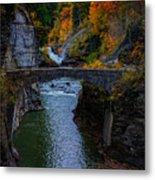Footbridge At Lower Falls Metal Print by Rick Berk
