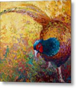 Foraging Pheasant Metal Print by Marion Rose