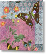 Four Butterfly Patch Blue Metal Print by JQ Licensing