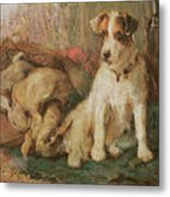 Fox Terrier With The Day's Bag Metal Print by English School