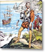 Francis Drake And The Golden Hind Metal Print by Ron Embleton