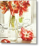 Fresh Spring Tulips In Old Milk Bottle  Metal Print by Sandra Cunningham
