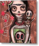 Frida Day Of The Dead Metal Print by  Abril Andrade Griffith