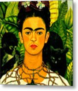 Frida Kahlo Self Portrait With Thorn Necklace And Hummingbird Metal Print by Pg Reproductions