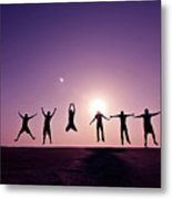 Friends Jumping Against Sunset Metal Print by Kazi Sudipto photography