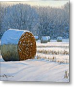 Frigid Morning Bales Metal Print by Bruce Morrison