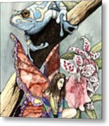 Frog Flowers And A Fairy Metal Print by Preston Shupp