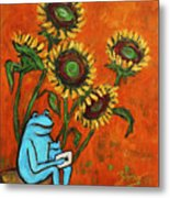 Frog I Padding Amongst Sunflowers Metal Print by Xueling Zou