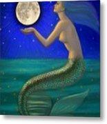 Full Moon Mermaid Metal Print by Sue Halstenberg