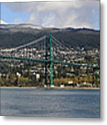 Full View Of The Lion's Gate Bridge Vancouver City  Metal Print by Pierre Leclerc Photography