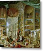 Gallery Of Views Of Ancient Rome Metal Print by Giovanni Paolo Pannini