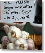 Garlic And Dried Apricots For Sale Metal Print by Anne Keiser