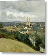 General View Of The Town Of Saint Lo Metal Print by Jean Corot