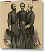 Generals Jackson Beauregard And Lee Metal Print by War Is Hell Store