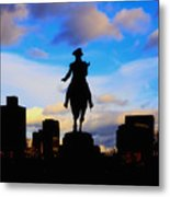 George Washington Statue Sunset - Boston Metal Print by Joann Vitali