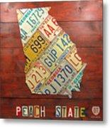 Georgia License Plate Map Metal Print by Design Turnpike