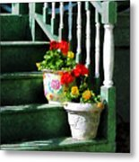 Geraniums And Pansies On Steps Metal Print by Susan Savad