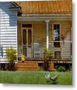 Geraniums On A Country Porch Metal Print by Doug Strickland