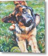 German Shepherd Pup With Ball Metal Print by Lee Ann Shepard