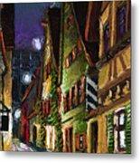 Germany Ulm Old Street Night Moon Metal Print by Yuriy  Shevchuk