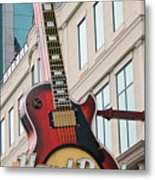 Gibson Les Paul Of The Hard Rock Cafe Metal Print by DigiArt Diaries by Vicky B Fuller