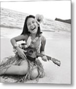 Girl And Her Ukulele Metal Print by Brandon Tabiolo - Printscapes