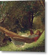 Girl In The Hammock Metal Print by Winslow Homer