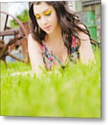 Girl Reading Book Metal Print by Jorgo Photography - Wall Art Gallery