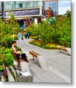 Girl Uninterrupted On The High Line Metal Print by Randy Aveille
