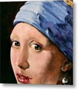 Girl With A Pearl Earring A Reproduction Of Vermeer Metal Print by Joan Garcia