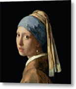 Girl With A Pearl Earring Metal Print by Jan Vermeer