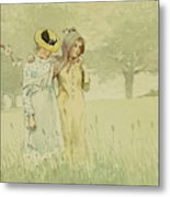 Girls Strolling In An Orchard Metal Print by Winslow Homer