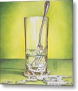Glass With Melting Fork Metal Print by Melissa A Benson