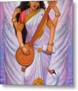 Goddess Saraswati Metal Print by Sue Halstenberg