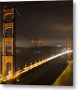 Golden Gate At Night Metal Print by Mike Irwin