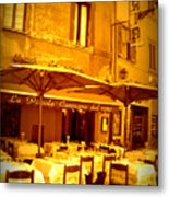 Golden Italian Cafe Metal Print by Carol Groenen