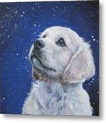 Golden Retriever Pup In Snow Metal Print by Lee Ann Shepard