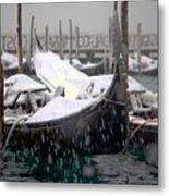 Gondolas In Venice In The Snow Metal Print by Michael Henderson